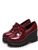 cheap Women's Pants-Women's Shoes Patent Leather Spring / Fall Comfort Loafers & Slip-Ons Wedge Heel Round Toe Bowknot / Tassel Black / Burgundy