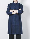 billige Herreskjorter-Stående krave Tynd Herre - Ensfarvet Hør, Basale Kineseri Plusstørrelser Skjorte Sort XXXL / Langærmet / Forår / Efterår