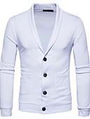 cheap Men's Sweaters & Cardigans-Men's Weekend Long Sleeves Slim Cardigan - Solid Colored Shirt Collar
