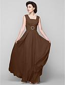 Χαμηλού Κόστους Φορέματα για τη Μητέρα της Νύφης-Γραμμή Α Τετράγωνη Λαιμόκοψη Μακρύ Σιφόν Φόρεμα Μητέρας της Νύφης με Χάντρες με LAN TING BRIDE®