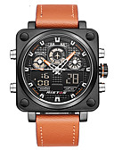 cheap Sport Watches-Men's Sport Watch Military Watch Digital Watch Japanese Quartz 30 m Water Resistant / Water Proof Alarm Calendar / date / day Genuine Leather Band Analog-Digital Charm Luxury Vintage Black / Orange -