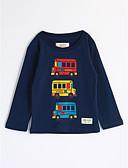 baratos Camisas para Meninos-Para Meninos Blusa Desenho Animado Outono Algodão Manga Longa Desenho Azul Marinha