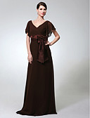 cheap Cocktail Dresses-Sheath / Column V Neck Floor Length Chiffon Formal Evening Dress with Bow(s) / Sash / Ribbon by TS Couture®