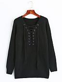 olcso Női felsőruházat-Női Pamut Pulóver Egyszínű V-alakú