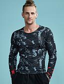baratos Camisas Masculinas-Homens Camiseta - Esportes Activo Punk & Góticas Vazado Com Transparência Estampado, Listrado Estampa Animal Decote Redondo