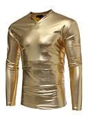 olcso Férfi pólók és atléták-V-alakú Vékony Férfi Poliuretán Póló - Egyszínű, Nyomtatott / Hosszú ujj