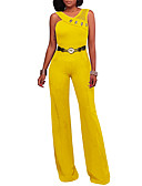 cheap Women's Jumpsuits & Rompers-Women's Party / Holiday / Club Street chic Jumpsuit - Solid Colored, Backless / Mesh High Rise Wide Leg V Neck / Summer / Fall
