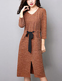 זול שמלות נשים-צווארון V מידי מפוצל, אחיד - שמלה סריגים מידות גדולות סגנון רחוב ליציאה בגדי ריקוד נשים