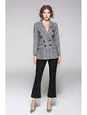 cheap Women's Blazers & Jackets-JOJO HANS Women's Street chic Blazer-Solid Colored Geometric Shirt Collar
