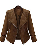 cheap Women's Leather Jackets-Women's Holiday Punk & Gothic Leather Jacket - Solid Colored / Fall / Winter