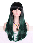 cheap Corsets-Synthetic Wig Wavy With Bangs Synthetic Hair Ombre Hair / Dark Roots Green Wig Women's Long Capless