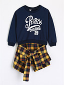 cheap Girls' Clothing-Toddler Girls' Check Plaid Long Sleeve Long Cotton Blouse