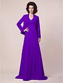 hesapli Kokteyl Elbiseleri-A-Şekilli V Yaka Süpürge / Fırça Kuyruk Şifon / Saten Boncuklama / Drape / Yan Drape ile Gelin Annesi Elbisesi tarafından LAN TING BRIDE® / Şal dahildir