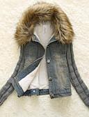 olcso Női hosszú kabátok és parkák-Női Extra méret Pamut Kosaras - Tiszta szín, Egyszínű