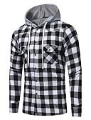 baratos Camisas Masculinas-Homens Camisa Social Activo / Moda de Rua Estampado, Xadrez Algodão Com Capuz / Manga Longa