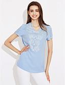 preiswerte Hemd-Damen Solide T-shirt, V-Ausschnitt Baumwolle