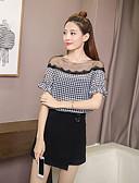 baratos Camisas Femininas-Mulheres Camisa Social - Para Noite Quadriculada