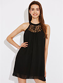 cheap Women's Dresses-Women's Holiday Street chic A Line Dress - Solid Colored Black Low Rise Halter Neck / Summer / Lace
