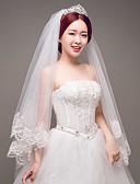 cheap Men's Accessories-One-tier Lace Applique Edge Wedding Veil Elbow Veils 53 Appliques Tulle