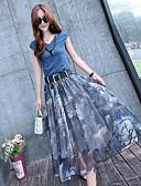 billige Todelt dress til damer-Dame Bomull T-skjorte Skjørt - Trykt mønster