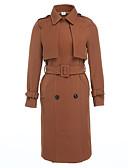 olcso Női felsőruházat-Napi Vintage Állógallér Női Hosszú Kabát Egyszínű Tél Pamut