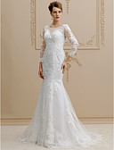 cheap Wedding Dresses-Mermaid / Trumpet Illusion Neck Sweep / Brush Train Lace Over Tulle Made-To-Measure Wedding Dresses with Appliques / Buttons by LAN TING