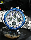 cheap Sport Watches-Men's Wrist Watch Japanese Quartz 30 m Water Resistant / Water Proof Calendar / date / day Chronograph Stainless Steel Band Analog Silver - White Black Blue / LCD / Stopwatch / Noctilucent