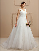 cheap Wedding Dresses-A-Line V Neck Court Train Lace / Tulle Made-To-Measure Wedding Dresses with Appliques / Bow(s) by LAN TING BRIDE® / Open Back