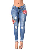 cheap Women's Pants-Women's Skinny Skinny Jeans Pants - Embroidered Floral