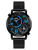 cheap Dress Watches-SKMEI Men's Wrist Watch Japanese Water Resistant / Water Proof / Creative / Dual Time Zones Stainless Steel Band Luxury / Casual / Fashion Black
