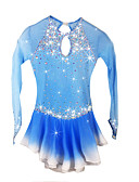 cheap Ice Skating Dresses , Pants & Jackets-Figure Skating Dress Women's / Girls' Ice Skating Dress Pale Blue Spandex Rhinestone High Elasticity Performance Skating Wear Handmade