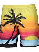 זול מכנסיים ושורטים לגברים-בגדי ריקוד גברים פעיל פאנק & גותיות רגל רחבה שורטים מכנסיים צמחים דפוס עצים\עלים