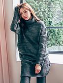 tanie Swetry damskie-Damskie Codzienny Solidne kolory Długi rękaw Długie Pulower, Golf Wiosna Bawełna Czarny / Ciemnoszary / Szary Jeden rozmiar