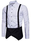 זול חולצות לגברים-משובץ דמקה צווארון קלאסי סגנון סיני כותנה, חולצה - בגדי ריקוד גברים / שרוול ארוך