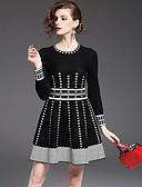 cheap Women's Dresses-YHSP Women's Sophisticated Street chic A Line Sheath Sweater Dress - Color Block Polka Dots