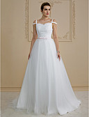 cheap Wedding Dresses-Princess Sweetheart Neckline Sweep / Brush Train Lace / Tulle Made-To-Measure Wedding Dresses with Bow(s) / Sashes / Ribbons by LAN TING BRIDE® / Open Back