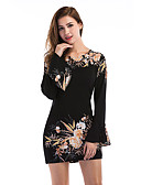 cheap Women's Dresses-Women's Club Going out Holiday Street chic Sheath Dress - Floral Black High Rise Mini