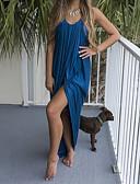 baratos Vestidos de Coquetel-Mulheres Solto Vestido Sólido Decote V Longo Azul