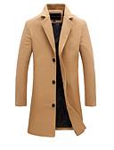 cheap Men's Jackets & Coats-Men's Vintage / Basic Long Cotton Jacket - Solid Colored / Long Sleeve / Plus Size