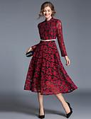 tanie Suknie i sukienki damskie-Damskie Wyjściowe Vintage / Wyrafinowany styl Linia A Sukienka - Patchwork Kołnierz stawiany Midi