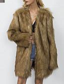 cheap Women's Fur Coats-Women's Simple Casual Plus Size Faux Fur Fur Coat-Solid Colored V Neck