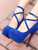 preiswerte Damen Röcke-Damen Schuhe Nubukleder / PU Herbst / Winter Pumps High Heels Blockabsatz Schwarz / Rot / Blau