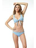 cheap Bikinis-Women's Halter Neck Blue Red Pink Bikini Swimwear Print S M L Blue