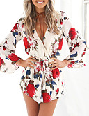 cheap Maxi Dresses-Women's Floral Holiday V Neck White Romper, Floral Print / Wrap M L XL Summer
