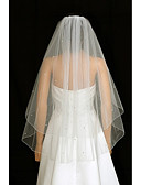 cheap Wedding Veils-Two-tier Wedding Veil Blusher Veils / Fingertip Veils with Rhinestone / Ruched Tulle / Angel cut / Waterfall