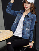cheap Women's Denim Jackets-Women's Going out Chinoiserie Cotton Denim Jacket - Solid Colored, Embroidered Shirt Collar