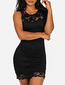 cheap Romantic Lace Dresses-Women's Lace Party / Club Street chic Mini Skinny Bodycon Dress - Patchwork Black, Lace Summer White Black M L XL / Sexy
