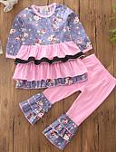 tanie Zestawy ubrań dla dziewczynek-Komplet odzieży Bawełna Poliester Dla dziewczynek Kwiaty Patchwork Wiosna Jesień Długi rękaw Nowoczesne Falbany Retro Blushing Pink