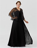 cheap Mother of the Bride Dresses-Plus Size A-Line Sweetheart Floor Length Chiffon Lace Mother of the Bride Dress with Lace Pleats by LAN TING BRIDE®