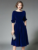 cheap Cocktail Dresses-Women's Club Butterfly Sleeve Lace Dress - Solid Colored Blue, Lace
